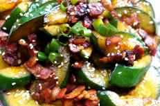 Pan fried cucumber with bacon